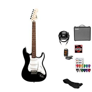 Starcaster by Fender Strat Electric Guitar Starter Pack, Onyx Black, with Lesson, Amplifier, Strings, Strap, 10ft Cable, Tuner and Pick Sampler