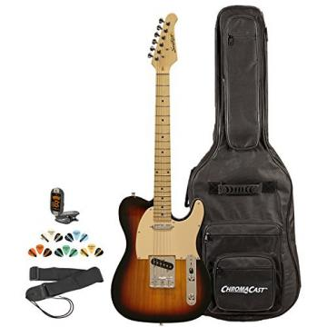 Sawtooth ST-ET-SBW-KIT-2 Electric Guitar, Sunburst with Aged White Pickguard