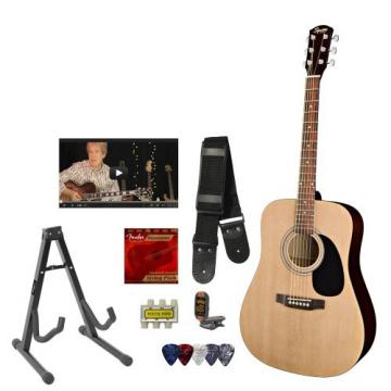 Squier by Fender Acoustic Guitar with Strings, Strap, Stand, Clip-On Tuner, Picks and Online Lesson