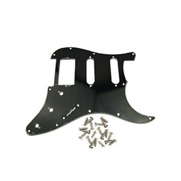 IKN 3Ply HSS Guitar Pickguard Scratch Plate w/Screws Black Strat Squier Replacement Guitar Part