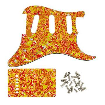 IKN Red/Yellow Stripe SSS Guitar Pick Guard Set Scratch Plate w/screw for Strat/Squier Style Guitar