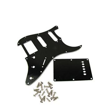 IKN Black HSS 3Ply Guitar Pickguard Back Plate Trem Cover Screws fits Strat Squier