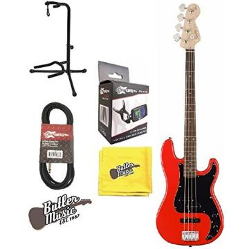 Fender Squier AFFINITY SERIES PRECISION BASS Race Red w/Stand & More
