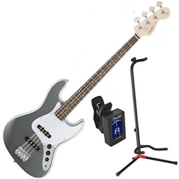 Squier 0310760581 Affinity J Bass RW Slick Silver w/ Stand and Tuner