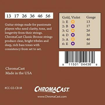 ChromaCast CC-GS-CB-M-4PACK Classic Bronze Medium Acoustic Guitar Strings, .013-.056, 4-Pack