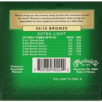 Martin M170 80/20 Acoustic Guitar Strings, Extra Light 3 Pack