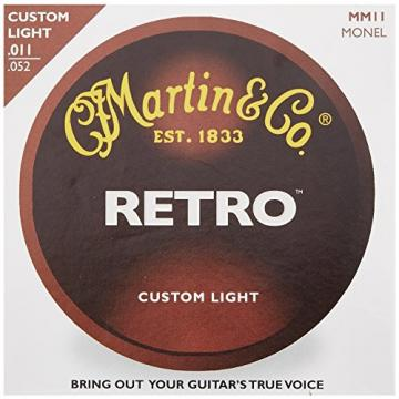 Martin MM11 Retro Monel Acoustic Guitar Strings, Custom Light, 11-52