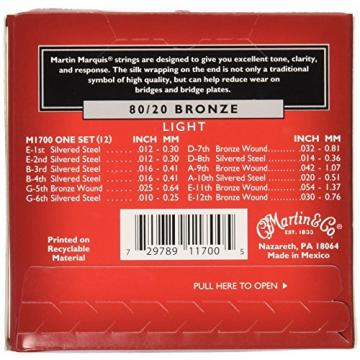 Martin M1700 Marquis 80/20 Bronze 12-String Acoustic Guitar Strings, Light