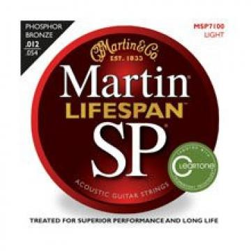 Martin MSP7100 SP Lifespan 92/8 Phosphor Bronze Acoustic Guitar Strings, Light 2 Pack