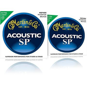 Martin MSP4000 SP Phosphor Bronze Extra Light Acoustic Guitar Strings (2 Pack)