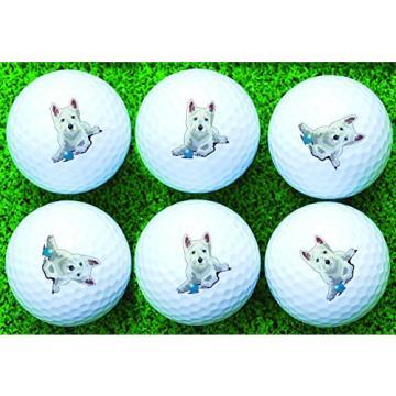 Westie West Highland Terrier Martin Wiscombe 6 X Printed Golf Balls