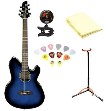 Ibanez TCY10ETBS Talman Acoustic-Electric Guitar, Transparent Blue Sunburst With Polishing Cloth, Picks, Tuner, and Stand