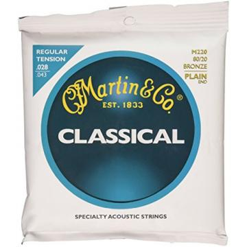 Martin M220 80/20 Bronze Plain End Classical Guitar Strings, Regular Tension