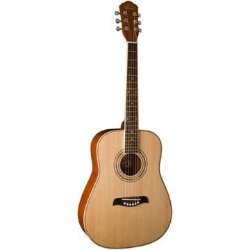 Oscar Schmidt OG1 3/4-Size Left-Handed Dreadnought Acoustic Guitar Bundle with Gig Bag, Austin Bazaar Instructional DVD, Clip-On Tuner, Strap, Strings, Picks, and Polishing Cloth - Natural