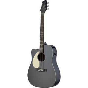 Stagg SA30DCE-BK Left Handed Dreadnought Cutaway Acoustic-Electric Guitar - Matte Black
