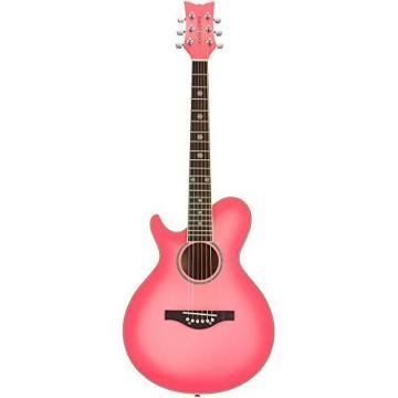 Daisy Rock WildWood Short Scale Acoustic Left-Handed Guitar, Pink Burst