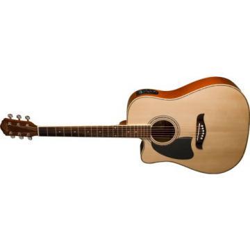Oscar Schmidt OG2CE Left-Handed Dreadnought Cutaway Acoustic-Electric Guitar - Natural