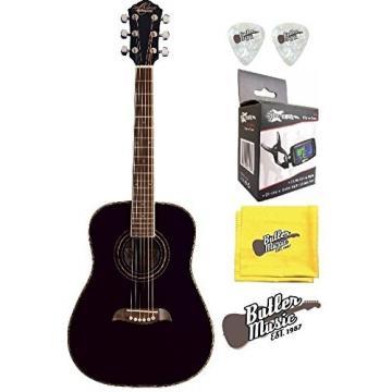 Oscar Schmidt OG1BLH - Black Left Handed 3/4 Size Acoustic Guitar w/Effin Tuner + More