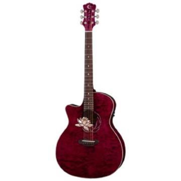 Luna FLOLOTQML Floral Lotus Cutaway Quilted Top A/E Guitar, Mahogany/Rosewood Fretboard Left Handed