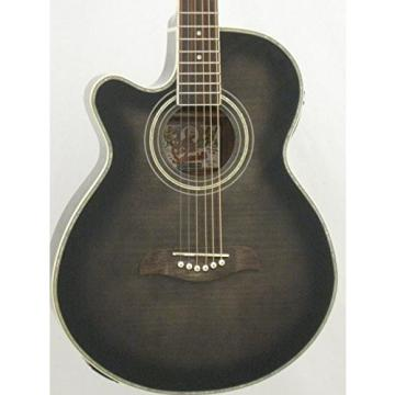 Oscar Schmidt OG10CEFTBLH Transparent Black Left-handed Acoustic Electric Guitar w/Gigbag and More!