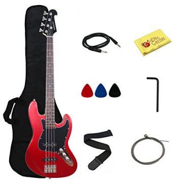 Stedman Pro Electric Bass Guitar Jazz Bass Guitar Style, Rosewood Fingerboard - Metallic Red