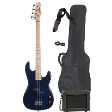 Full Size Electric Bass Guitar Starter Beginner Pack with Amp Case Strap Blue Package