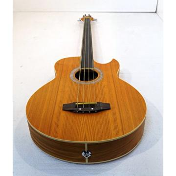 Fretless 4 String Acoustic Electric Cutaway Bass Guitar, Light-Brown Satin Finish, with a padded gig bag