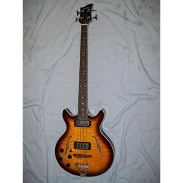 Left handed Semi hollow body Bass guitar, 4 string, Sunburst