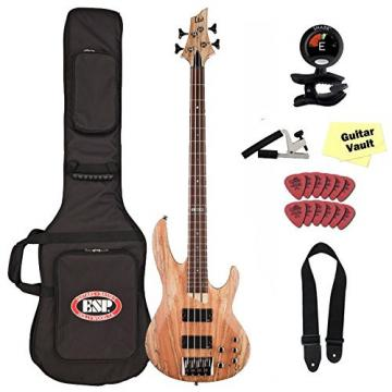 ESP LTD B-204SMNS Spalted Maple Natural Satin Electric Bass with Gig Bag and guitarVault Accessory Pack