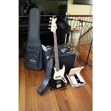 Fender Squire Jazz Bass Guitar Pack w/ Delux Gig Bag, Super Snark Tuner, Pocket Rockit, Leather Strap, and Hosa Cable