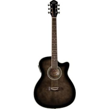 Oscar Schmidt OACEF-TB Auditorium Style Cutaway Acoustic-Electric Guitar -Transparent Black