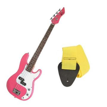 It's All About the Bass Pack - Pink Kay Electric Bass Guitar Medium Scale w/Yellow Strap