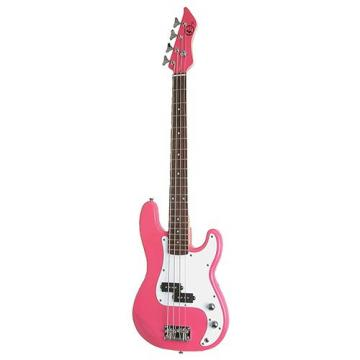 It's All About the Bass Pack-Pink Kay Electric Bass Guitar Medium Scale w/Meisel Com90 Tuner
