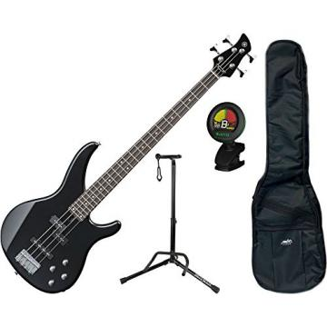 Yamaha TRBX204GLB Galaxy Black 4-String Bass Guitar w/ Gig Bag, Stand, and Tuner
