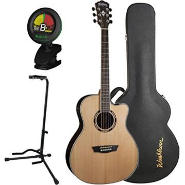 Washburn AG20CEK Nat Grand Auditorium Acoustic Electric Guitar w/ Hard Case, Stand, and Tuner