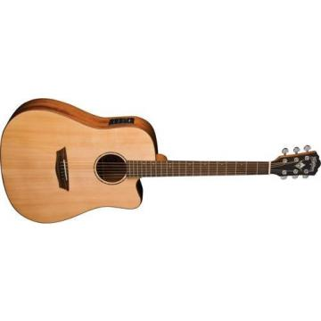 Washburn Solid Wood Series WD150SWCE Dreadnought Acoustic Electric Guitar, Natural