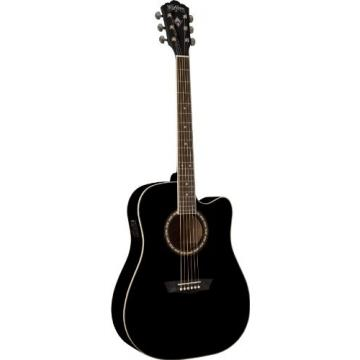 Washburn USM-WD10CEB Apprentice Series Acoustic Electric Guitar, Black