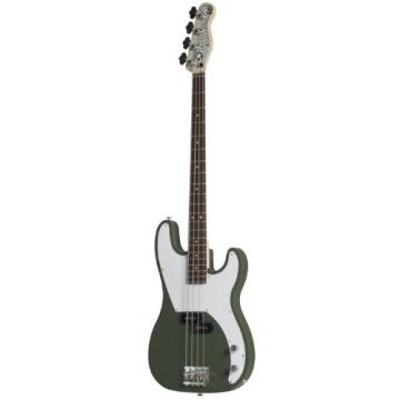 Normandy Guitars ALCB-AG-RSWD 4-String Bass Guitar with Rosewood Fretboard, Army Green