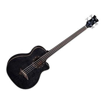 Dean EQABA FL TBK Exotica Quilt Ash Acoustic/Electric Bass Guitar FL Trans Black