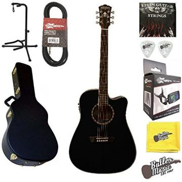 Washburn WD10SCEB Solid Spruce Top A/E Dreadnought Guitar w/BK Hard Case plus More