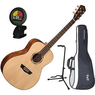 Washburn WLO10S Orchestra Acoustic Guitar w/ Gig Bag, Stand, and Tuner