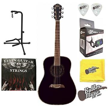 Oscar Schmidt OG1B 3/4 Size Dreadnought Acoustic Guitar w/Effin Strings and More