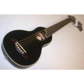 Washburn Rover RO10 Travel Guitar with Case, Solid Spruce Top, Black, RO10B