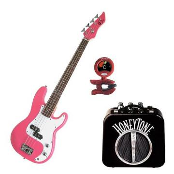 It's All About the Bass Pack - Pink Kay Electric Bass Guitar Medium Scale w/Honey tone Mini Amp & Tuner