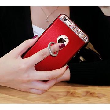 iPhone 6 Plus Case, Bonice Diamond Glitter Luxury Crystal Rhinestone Soft Rubber Bumper Bling Case with 360 Degree Rotating Ring Grip/Stand Holder/Kickstand For iPhone 6S Plus - Red