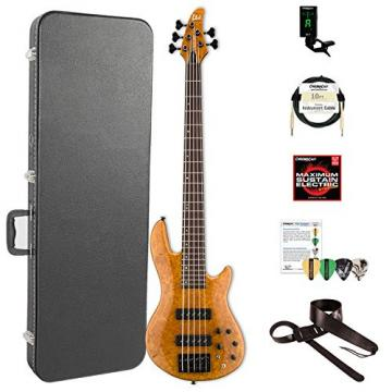 ESP LH1005SEBMHN-KIT-2 H Series 5-String Solid Burled Maple Top Electric Bass with Hard Case, Honey Natural