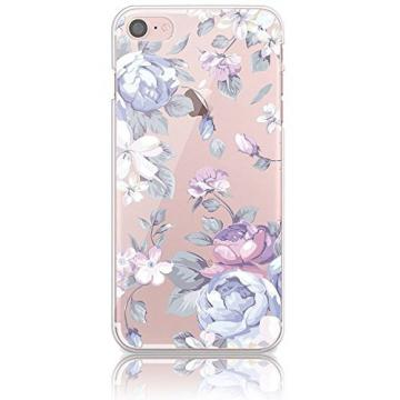 iPhone 6 Plus Soft TPU Case, Bonice iPhone 6S Plus Premium Ultra Slim Exact Fit Silicone Rubber Clear Transparent Back Cover Creative Design Scratch-Resistant Non-slip Protective Skin - Purple Flower