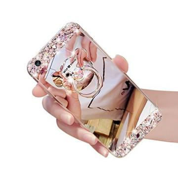 iPhone 5S Case, iPhone 5 Case Cover, Bonice Luxury Crystal Rhinestone Soft Rubber Bumper Bling Diamond Glitter Mirror Makeup Case with Ring Stand Holder for iPhone SE 5 5S - Silver