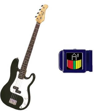 It's All About the Bass Pack-Black Kay Electric Bass Guitar Medium Scale w/Son of Snark Tuner