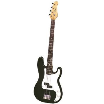 It's All About the Bass Pack - Black Kay Electric Bass Guitar Medium Scale w/Silver Guitar Stand